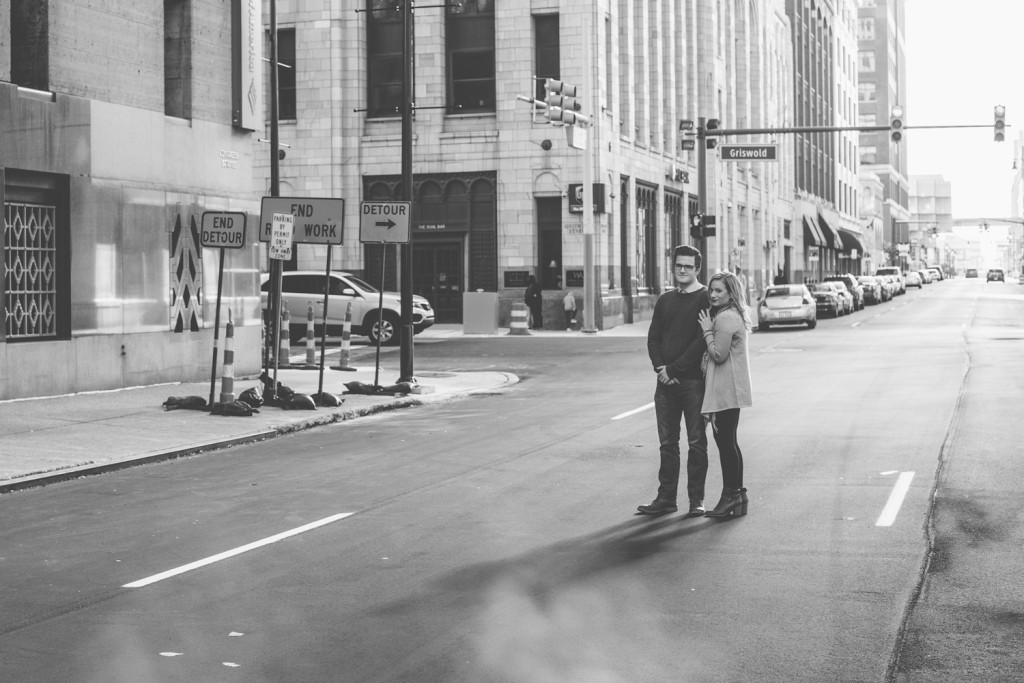 downtown detroit engagement photos: caitlin & andy